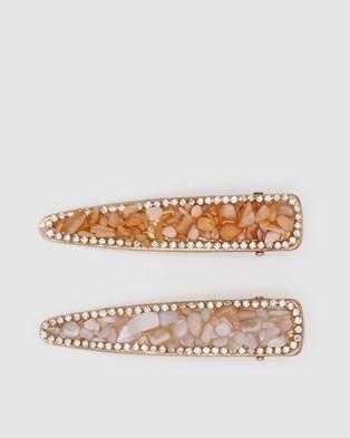 Morgan & Taylor Tash Hair Clip Set - Hair Accessories (White/ Orange)