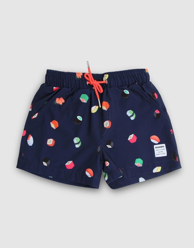 Men Navy Sushi Swim Shorts - Kids