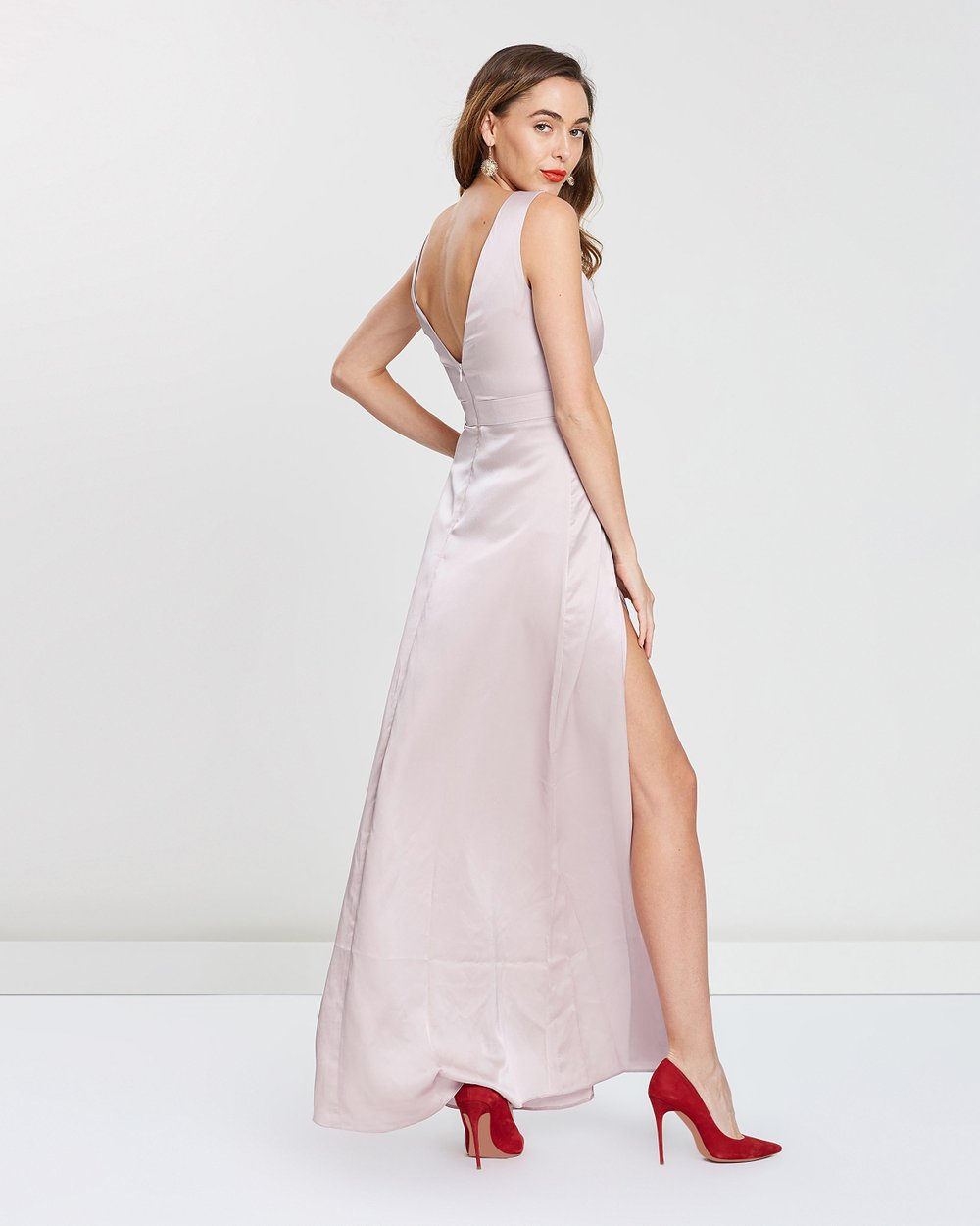Plunge Double Split-Front Satin Maxi Dress by Missguided Online  51f5fc34a