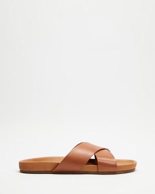 AERE - Brunswick Leather Slides - Shoes (Tan) Brunswick Leather Slides