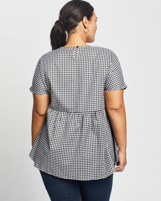 Atmos&Here Curvy Hailey Cotton Top - Tops (Black Gingham)
