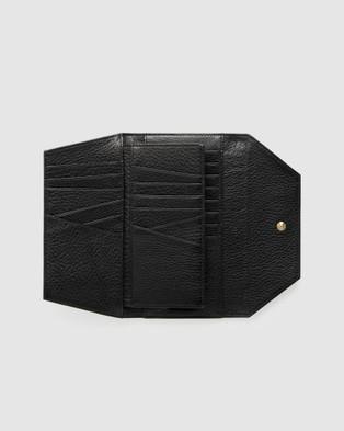 She Lion The Insider Wallet - Clutches (Black Matte Croc Embossed)