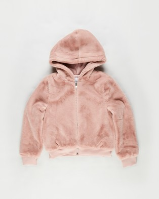 Decjuba Kids - Teddy Zip Up Jacket Teens Hoodies (Blush)