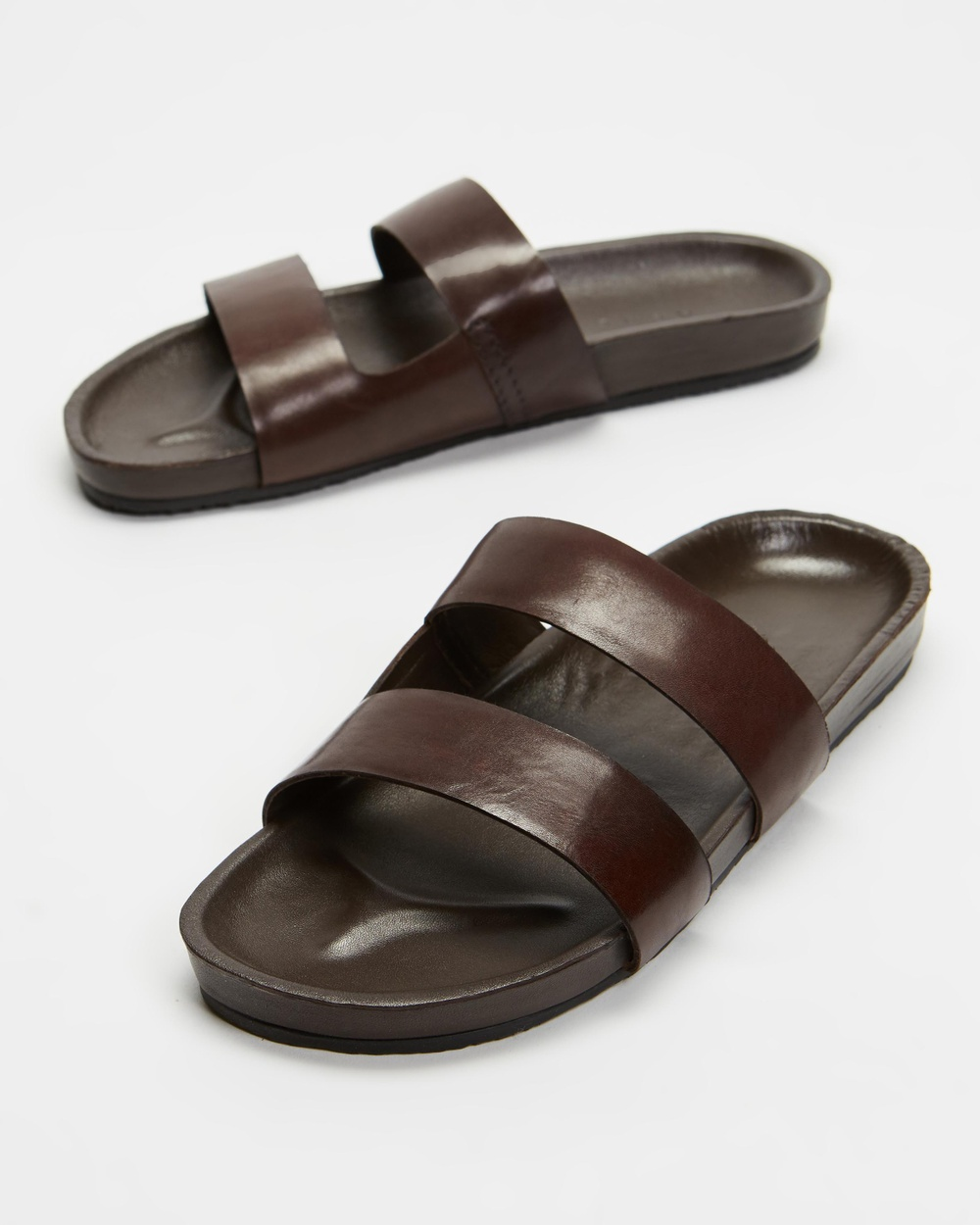 AERE Mojave Leather Slides Casual Shoes Brown