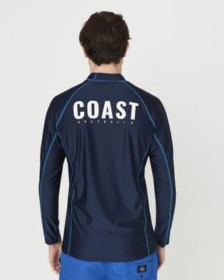 Coast Clothing Mens Long Sleeve Rash Top - Swimwear (Navy)