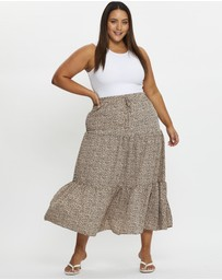 You & All - Plus High Waist Geo Print Drawstring Maxi Skirt