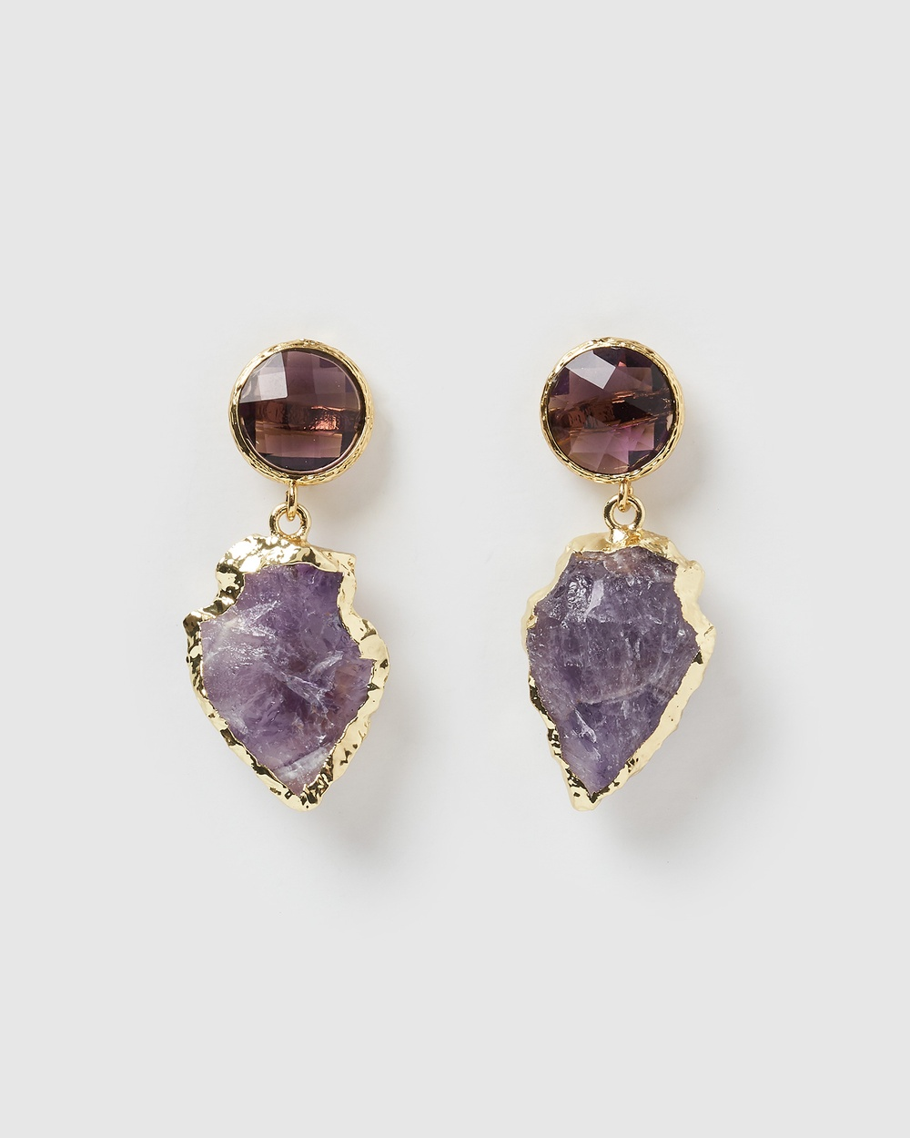 Miz Casa and Co Atlis Earrings Jewellery Amethyst Gold