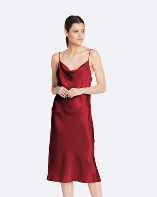 GINIA RTW – Lillian Satin Slip Dress Rust