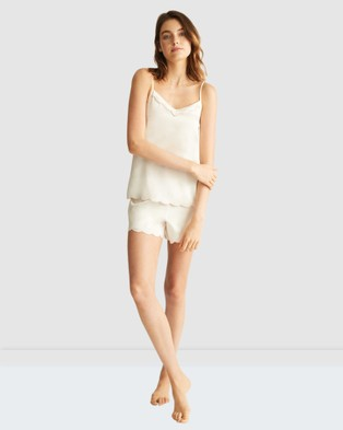 GINIA Embroidered Shorts - Sleepwear (White)