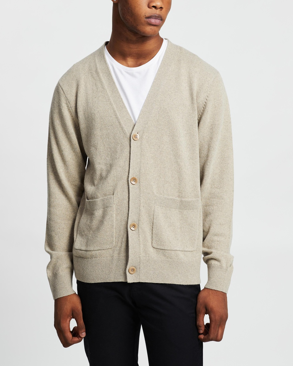 AERE Wool Blend Cardi Jumpers & Cardigans Stone