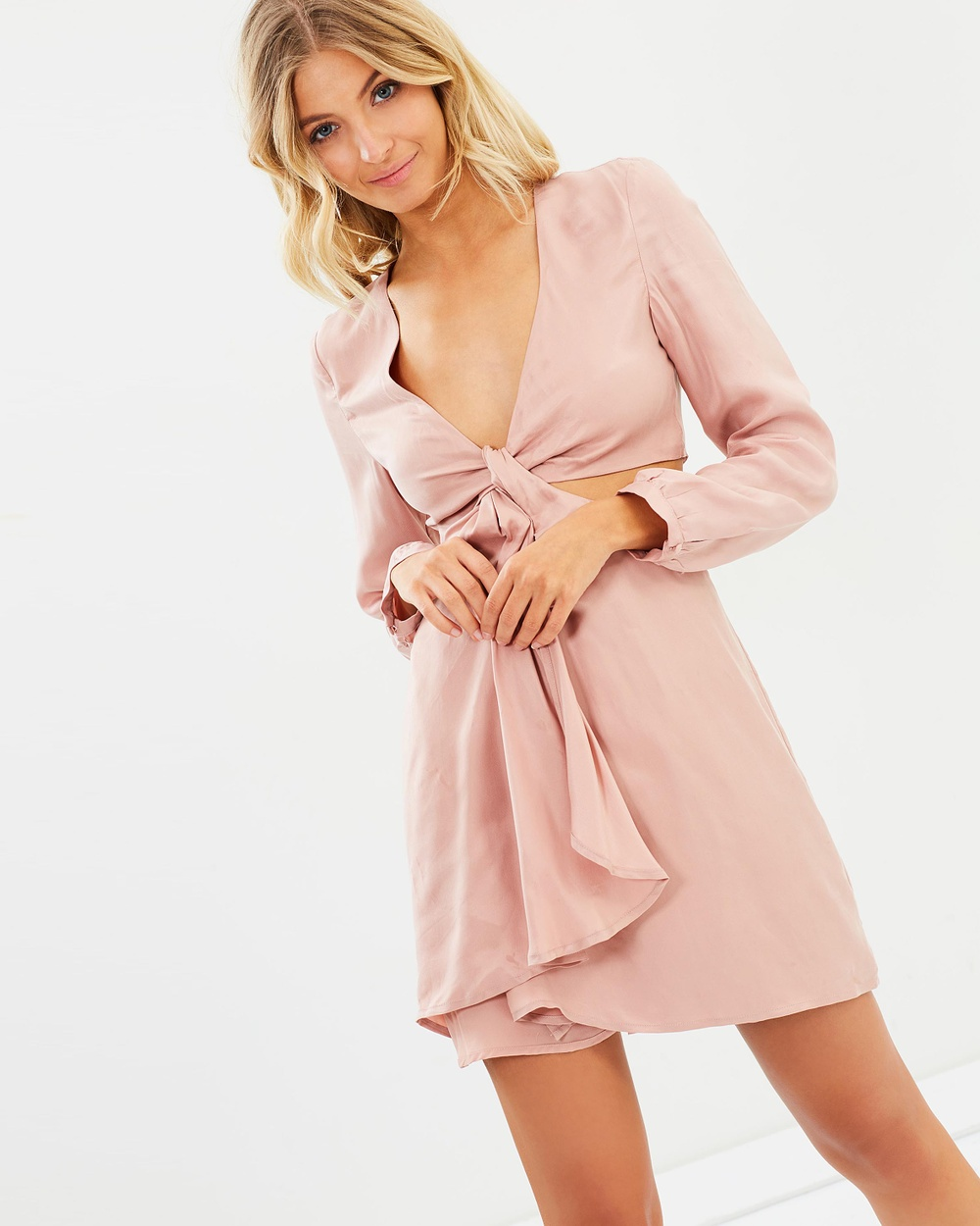 Bardot Twist Satin Dress Dresses Ash Rose Twist Satin Dress