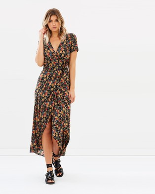 Auguste The Label – Wild Rose Maxi Wrap Dress Black