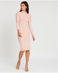 Boohoo - Rib Puff Sleeve Roll Neck Midi Dress