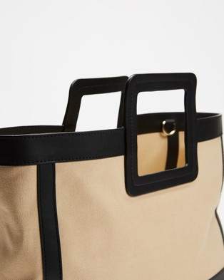Fall The Label Canvas Black Leather Tote - Bags (Natural with Black Trim)