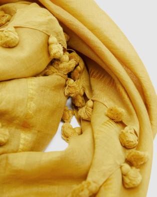 Cloth & Co. Hand Loomed Silk & Cotton Scarf - Scarves & Gloves (Turmeric)
