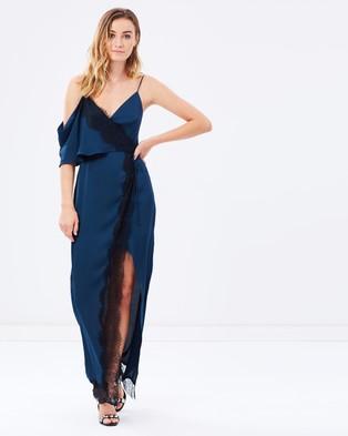 Keepsake the Label – Stop Me Lace Trim Maxi Dress – Dresses (Navy)