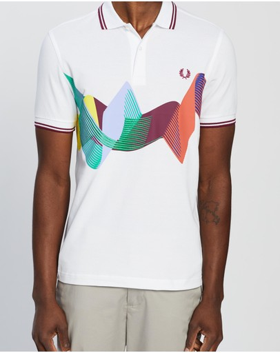 Fred Perry Abstract Sport Polo Shirt White