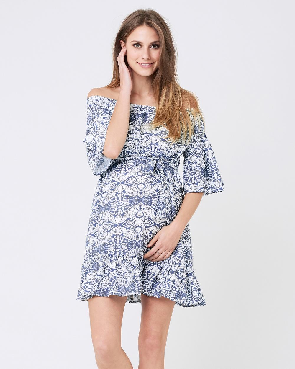 Ripe Maternity Ella Cold Shoulder Frill Dress Printed Dresses Grey-White Ella Cold Shoulder Frill Dress