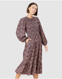 French Connection - Paisley Shirred Midi Dress
