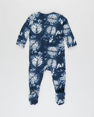 Cotton On Baby 2 Pack Long Sleeve Zip Romper   Babies - Longsleeve Rompers (Frosty Blue & Blue Bird Retro Floral)