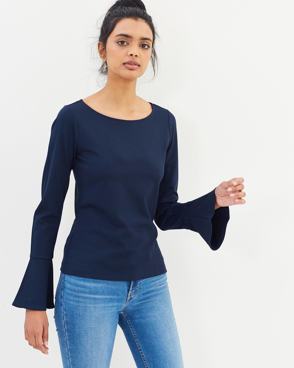 Polo Ralph Lauren Lauren Bell Sleeve Top Tops Navy Lauren Bell Sleeve Top