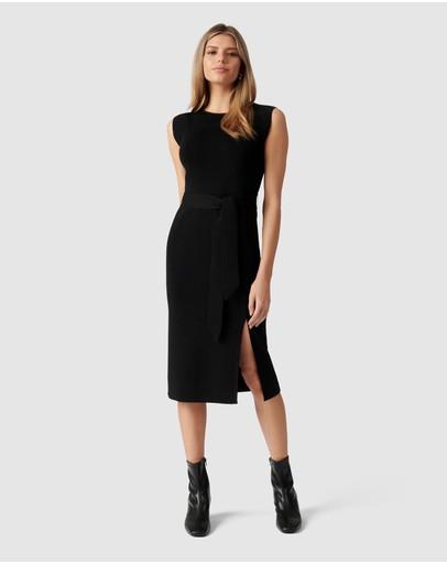 Forever New Ariana Front Split Knit Dress Black