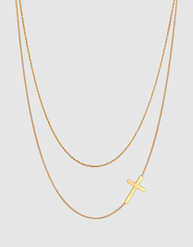 Women Necklace Cross Twisted Panzer Layer Look in 925 Sterling Silver Gold Plated