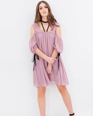 Lost Ink – Cold Shoulder Tie Neck Dress