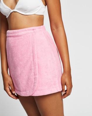 Endless Vacay Terry Towel Wrap Skirt - Swimwear (Pink)