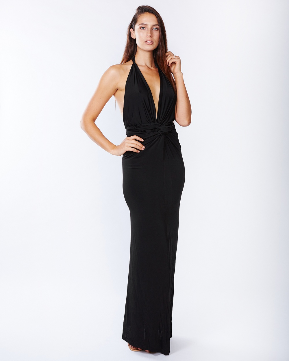 PIZZUTO Twist Gown Bodycon Dresses Black Twist Gown