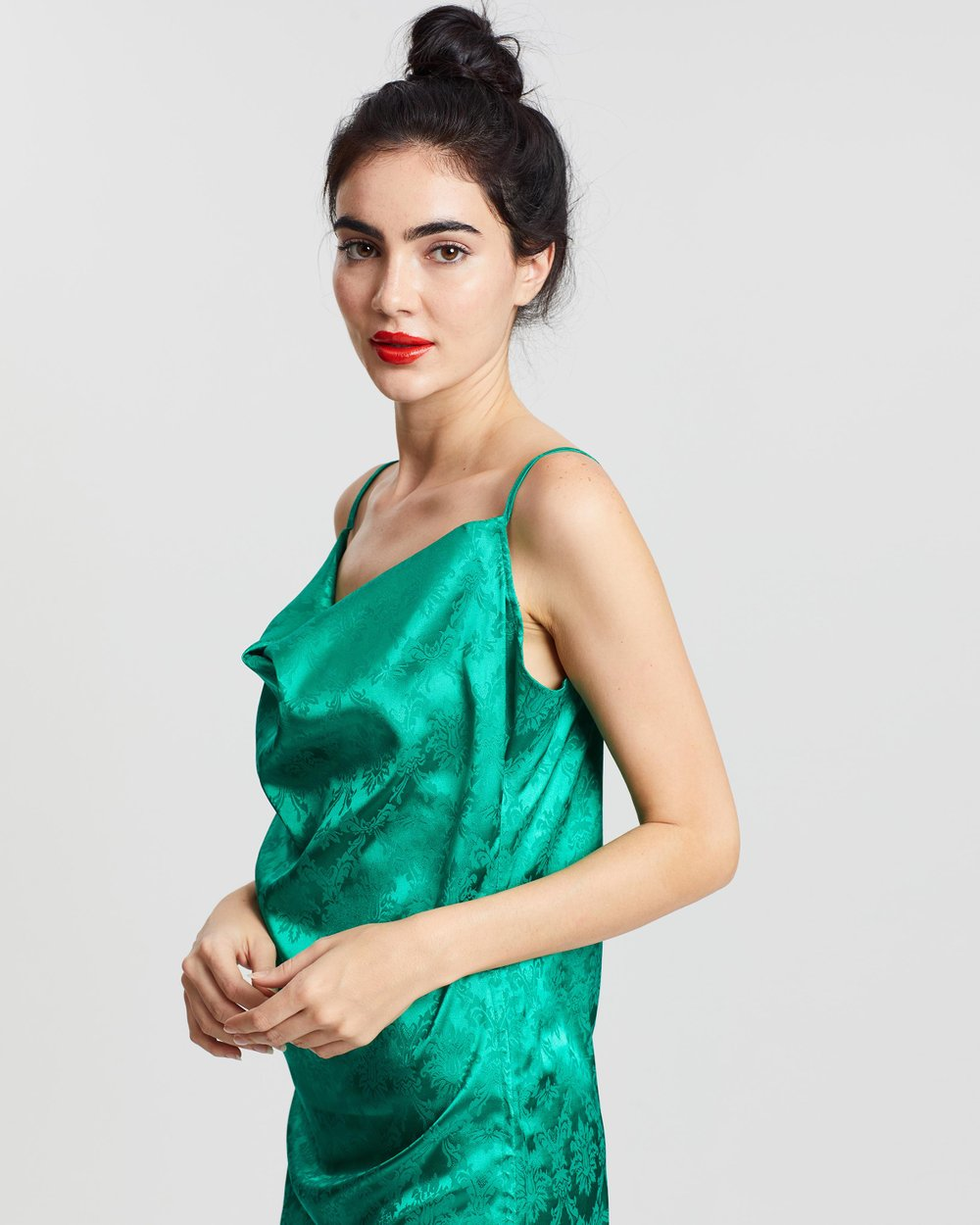 a7e860a05925 Satin Jacquard Side Ruched Camisole Dress by Missguided Online | THE ICONIC  | Australia