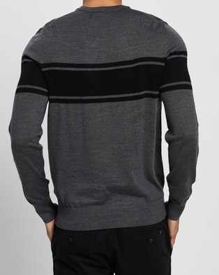 Calvin Klein Merino Stripe Crew Neck Sweater - Jumpers & Cardigans (Grey Heather)