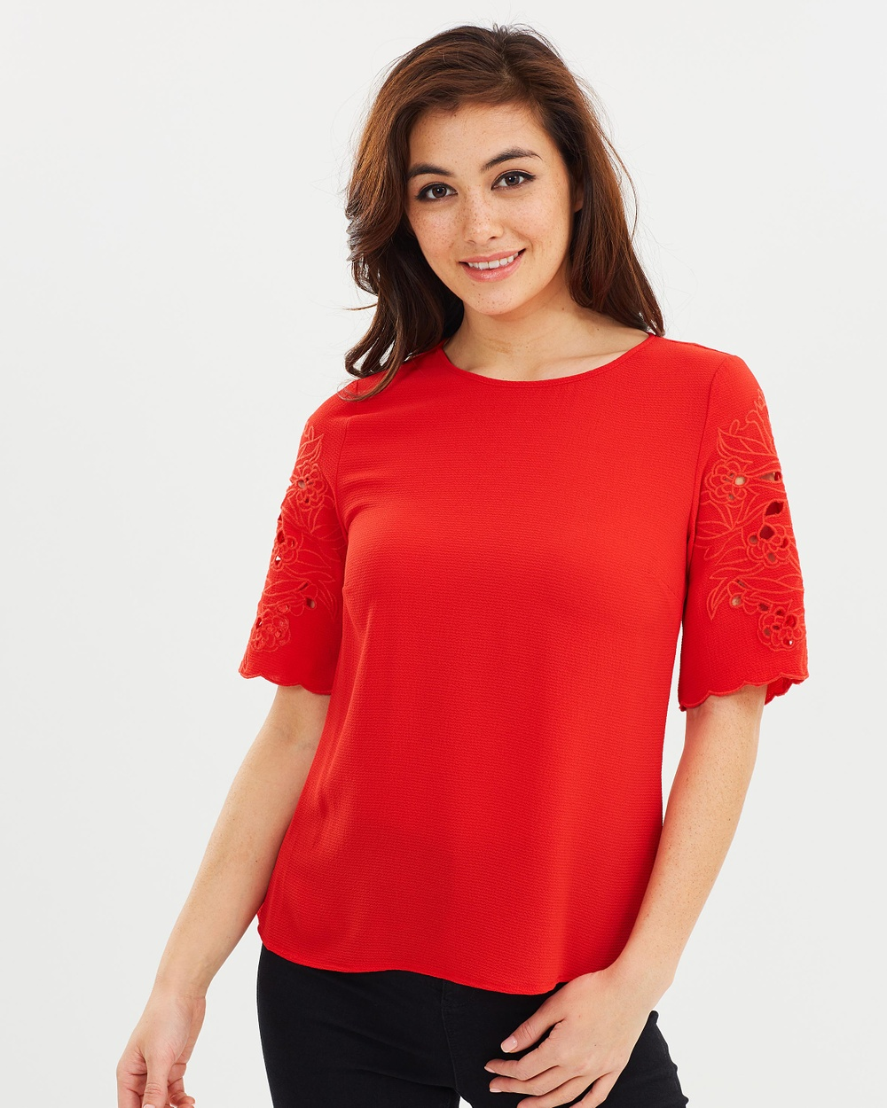 Dorothy Perkins Cutwork Sleeve Tee Tops Red Cutwork Sleeve Tee