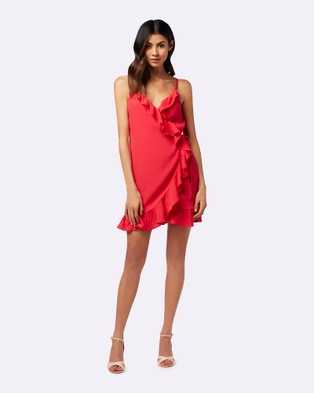 Forever New – Marley Wrap Ruffle Dress Red