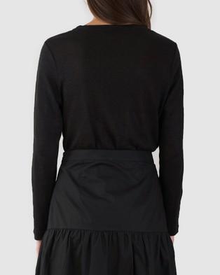 Amelius Priya Long Sleeve Linen T Shirt - Tops (Black)