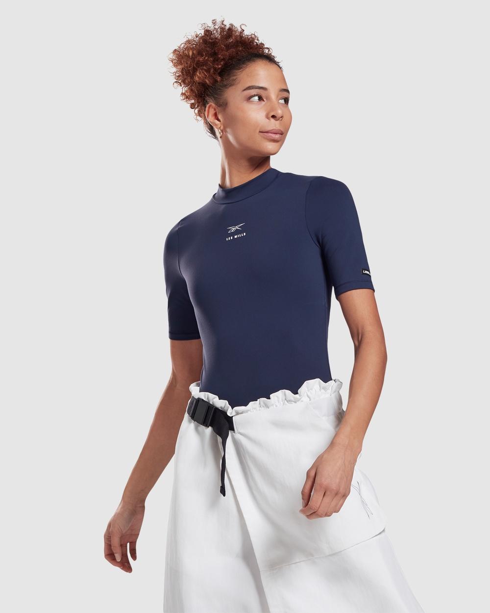 Reebok Performance Les Mills® Short Sleeve Bodysuit Jumpsuits & Playsuits Blue