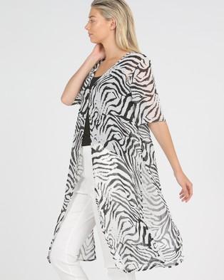 Privilege Relaxed Side Split Duster - Printed Dresses (Zebra)