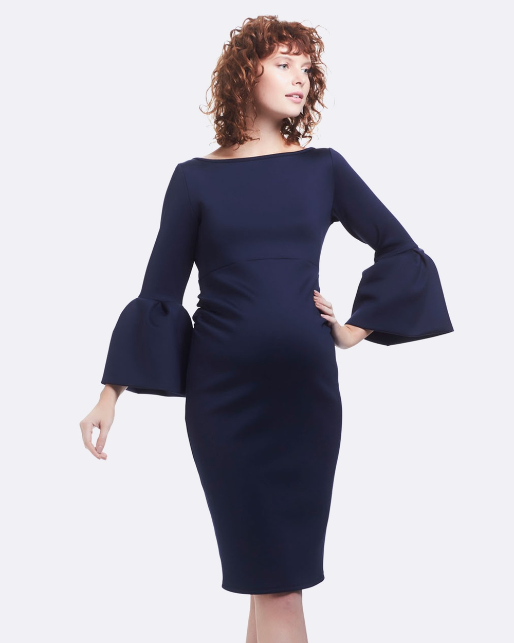 Soon Maternity Myra Ruffle Maternity Dress Dresses Navy Scuba Myra Ruffle Maternity Dress