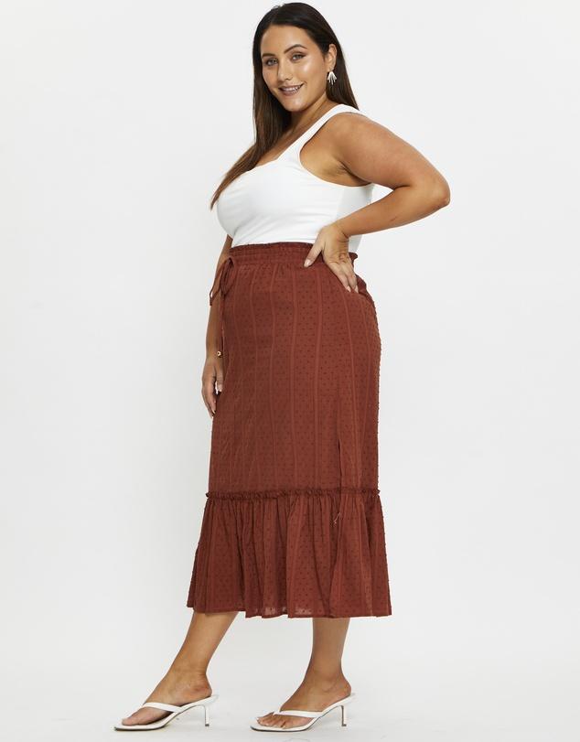 Women Plus Side Slit Maxi Skirt