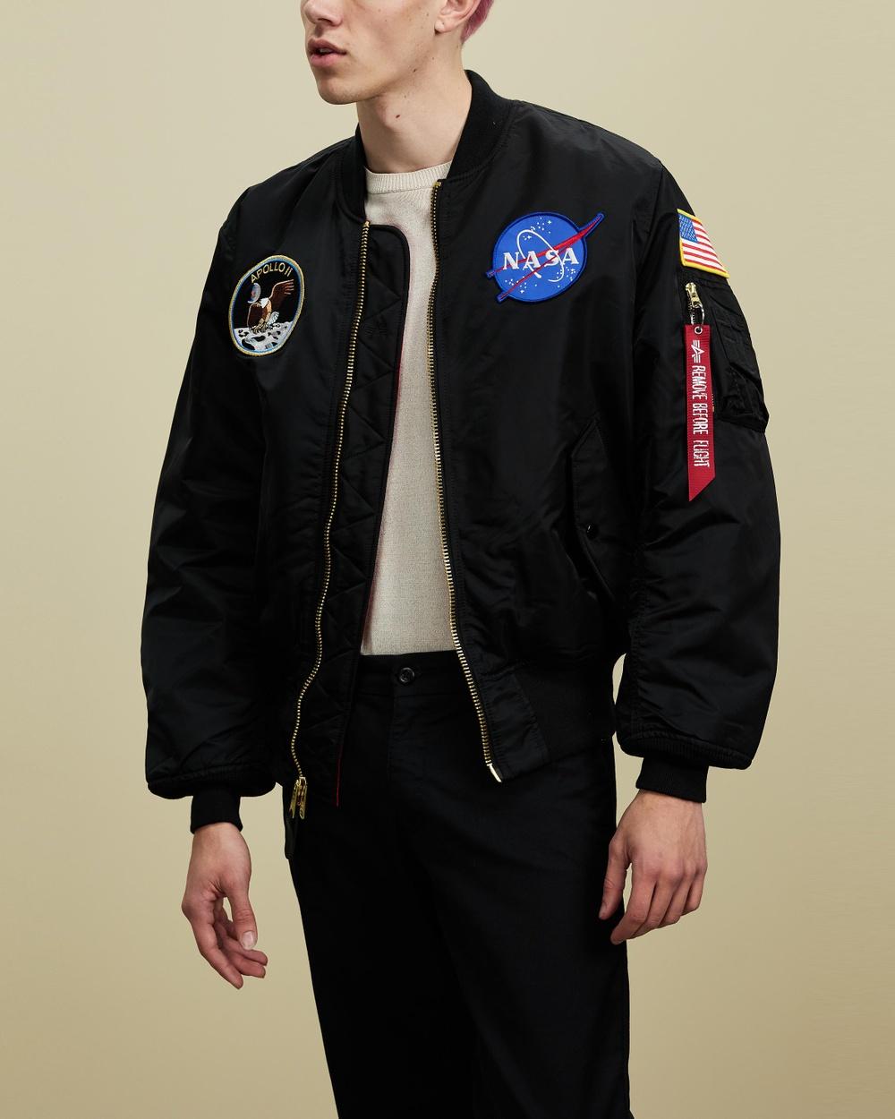 Alpha Industries Apollo MA 1 Flight Jacket Coats & Jackets Black Commander Red Lining MA-1