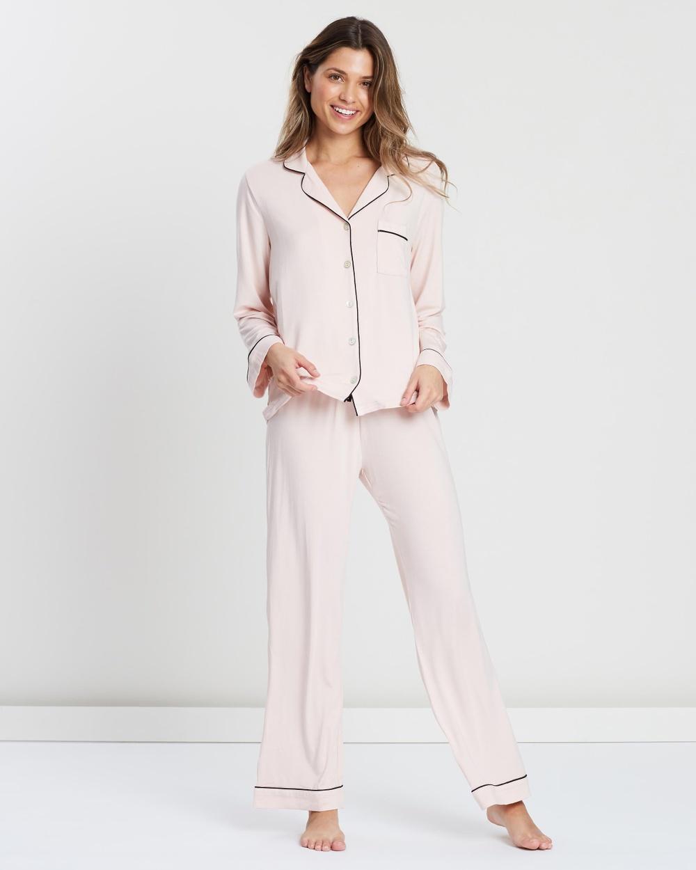 Homebodii Petra Long Piping PJ Set Underwear & Sleepwear Blush