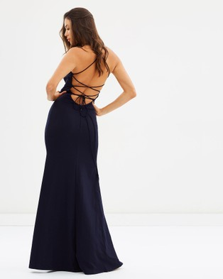 Bariano – Lolita High Neck Fitted Gown Navy