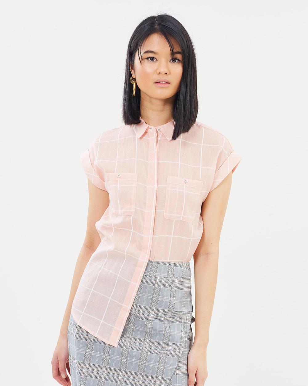 Oasis Short Sleeve Grid Check Shirt Tops Multi Orange Short Sleeve Grid Check Shirt