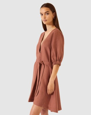 SABA SB Lila Linen Tie Mini Dress - Dresses (brown)