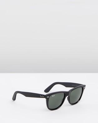 RaBan - Wayfarer - Sunglasses (Black & Crystal Green)