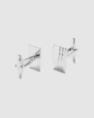 Buckle Rectangle Textured Nickel Cufflinks - Ties & Cufflinks (Silver)