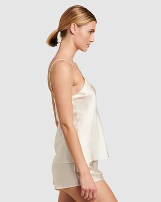 GINIA Silk V Neck Camisole - Sleepwear (Creme)