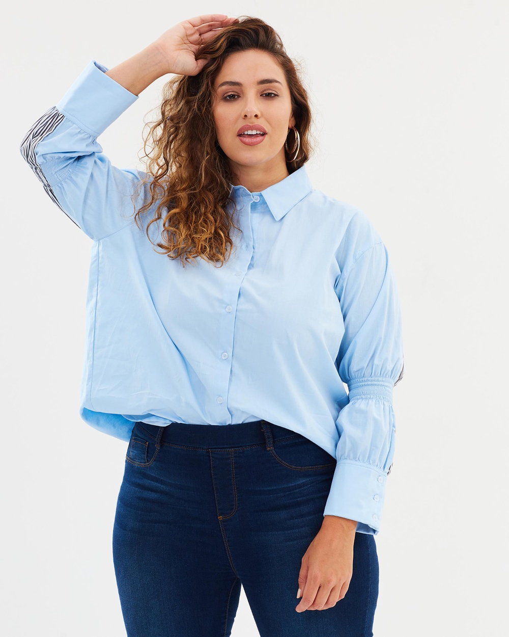 Atmos & Here Curvy ICONIC EXCLUSIVE Ashley Contrast Button Up Shirt Tops Blue & Strip Contrast ICONIC EXCLUSIVE Ashley Contrast Button-Up Shirt