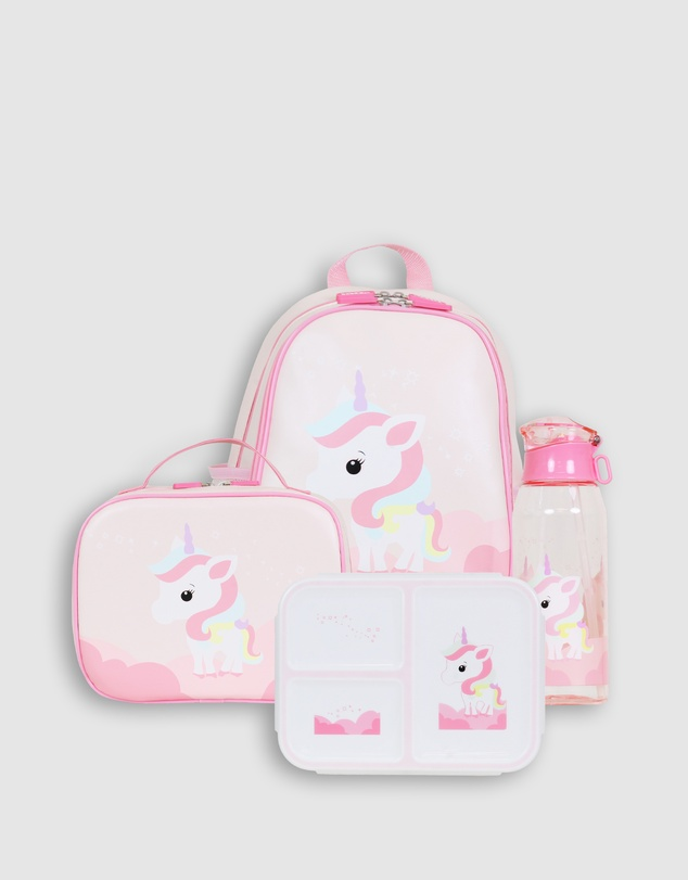 Bobbleart - Large Backpack Lunch Bag Bento Box and Drink Bottle Unicorn
