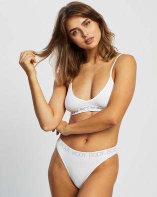 Cotton On Body Seamfree Bralette & Brasiliano Set - Bikini Briefs (White & Grey Logo)